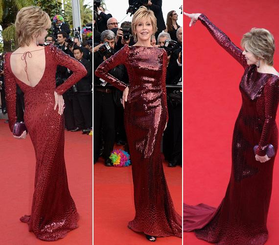 Csillogásban a 74 éves Jane Fonda sem maradt el mögöttük flitterekkel díszített, bordó ruhájában..