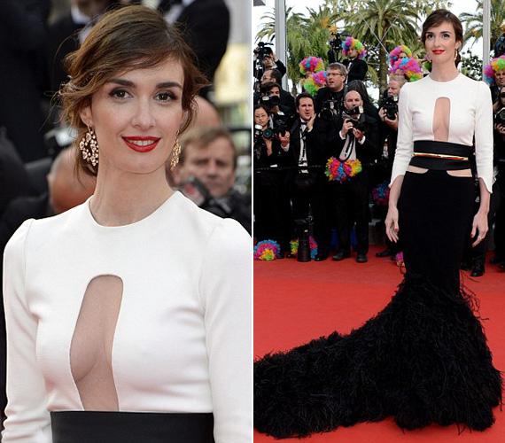 Paz Vega, spanyol színésznő fekete-fehér ruháján előbb vagy utóbb minden szem a dekoltázsára tévedt.