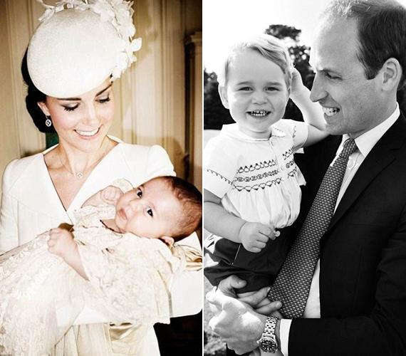 Mario Testino a kis Charlotte hercegnőt anyja karjaiban, míg György herceget édesapja kezében fotózta.