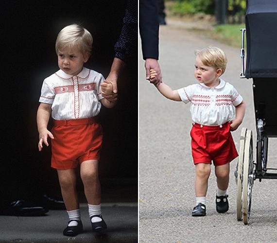 György herceg majdnem ugyanolyan ruhában érkezett húga keresztelőjére, mint amilyet Vilmos herceg viselt, amikor először találkozott öccsével, Harry herceggel a kórházban.