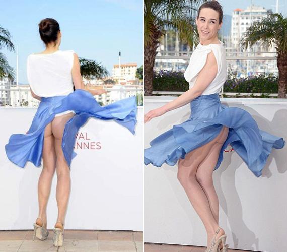 Arta Dobroshi albán színésznő ruháját a cannes-i filmfesztiválon kapta fel a szél. Ő sem a fehérnemű híve.