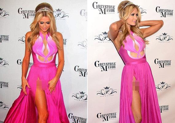 Paris Hilton rózsaszín ruháját még maga Barbie is megörökölhetné - bár azt már biztosan bánja, hogy nem húzott a merész darab alá bugyit.