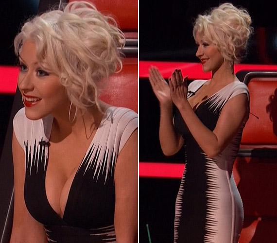 Az énekesnő egyáltalán nem zavartatja magát, bátran hajolgat még ekkora ruhakivágással is.