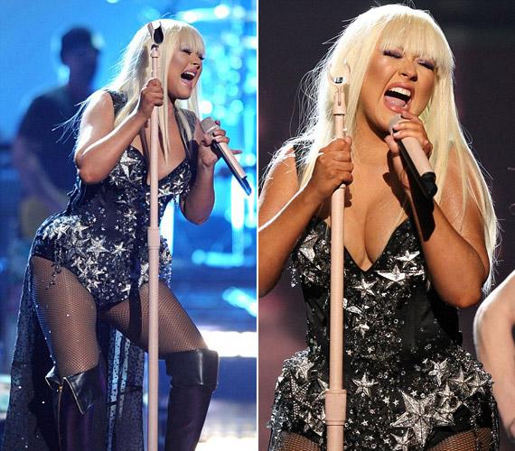 A fellépőruha sem takart sokat az énekesnő bájaiból: nemcsak a lábait, de a dekoltázsát is megmutatta.