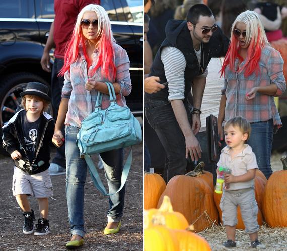 Kisfiával nézegetett Halloweenre tököket, tűzpiros hajával pedig a jelmezen már nem is kellett gondolkodnia.