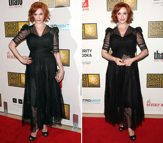 A fekete ruhát a ráncolt muszlin tette különlegessé, amely még a teltkarcsú színésznőt megjelenését is légiessé varázsolta. Természetesen fekete magassarkú és egy aprócska doboztáska dukált hozzá.