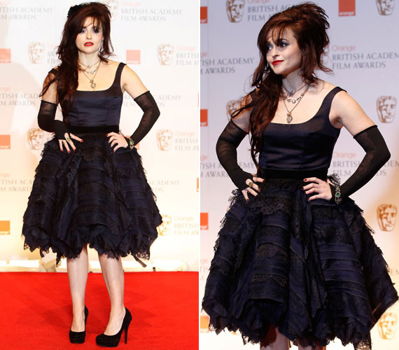 A brit színésznőtől, Helena Bonham Cartertől már megszokhattuk a furcsa öltözeteket, így nem lepődtünk meg, hogy ő is a Rex Features-t választotta a vasárnap esti vörös szőnyeges eseményhez. Öltözetéről szinte az összes létező anyag kombinációja visszaköszönt.