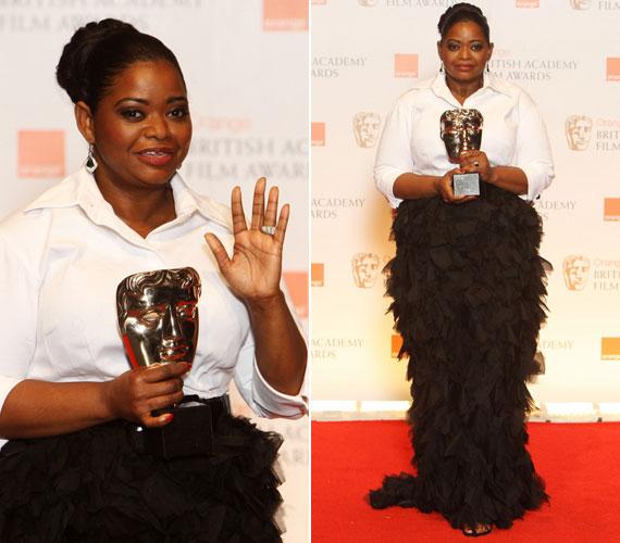 A legjobb mellékszereplő színésznő BAFTA-díjával kitüntetett Octavia Spencer számára sem volt a Rex Features előnyös választás, a sallangokkal díszített fekete szoknya, csipőben nagyon vaskosította.
