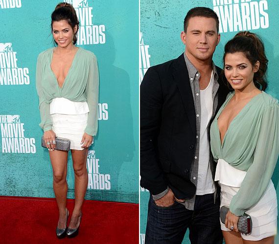 Channing Tatum felesége, Jenna Dewan kiérdemli a legkihívóbb szerelést viselő színésznő címet, ugyanis amellett, hogy ő is miniszoknyát választott, merész dekoltázsa is vonzotta a tekinteteket.