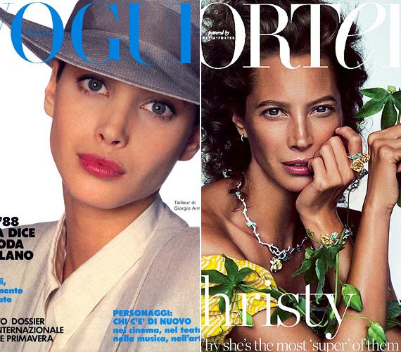 Karrierje kezdetétől rengeteg címlapon láthatták őt a női magazinok olvasói - a bal oldali Vogue borító 1988-ban készült az akkor 19 éves modellről, a jobb oldali pedig a mostani, Porter magazinos kép.
