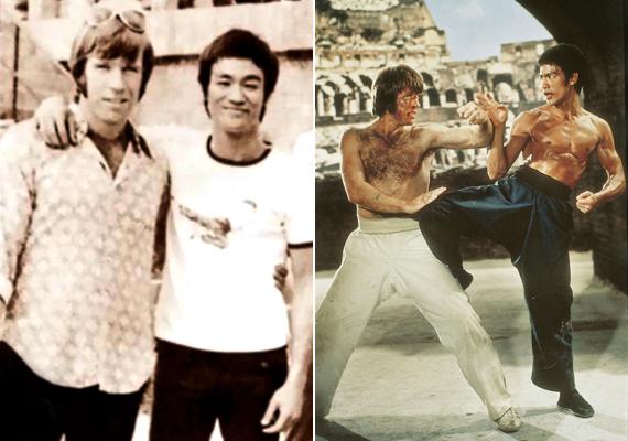 Ezek a viszont fotók még 1971-ben, A sárkány útja című film forgatásán készültek. A felvételeken Bruce Lee-vel látható.