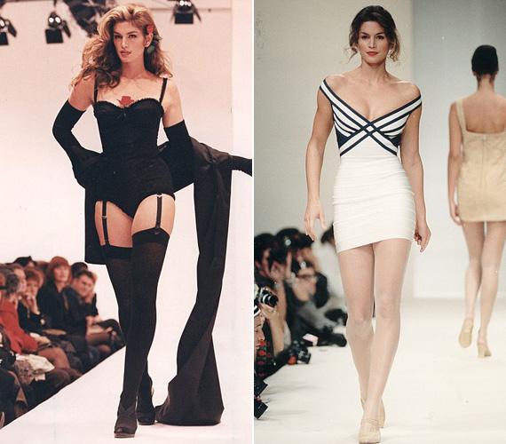 Cindy Crawford, a kifutó királynője: számos alkalommal lépett fel divatbemutatókon, az első kép 1993-ban készült róla. Bár az utóbbi időben már visszavonult a kifutóról, azért időről időre ismét visszatér. Mint 2011-ben, Herve Leger bemutatójára, ahol 45 évesen bebizonyította, még mindig van helye a fiatal modellek között.