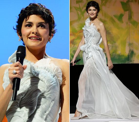 Audrey Tautou választása egy kínai származású francia divattervezőre esett: a népszerű francia színésznő Yiqing Yin jégmenta színű, organza- és selyemsifon estélyijében pompázott.