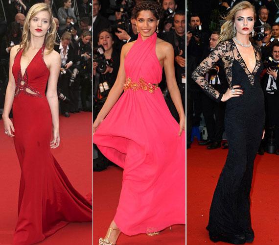 Georgia May Jagger, Mick Jagger lánya piros Roberto Cavalli, Freida Pinto színésznő korallszínű, selyemsifon Gucci, a brit modell a Burberry divatház egy csipke estélyi ruhájában volt látható.
