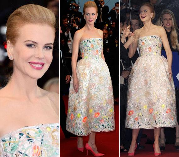 Nicole Kidman a filmbemutatón másik ruhában jelent meg: a Christian Dior 2013-as tavaszi kollekciójának egy couture darabjában és barackrózsaszín Jimmy Choo tűsarkúban.