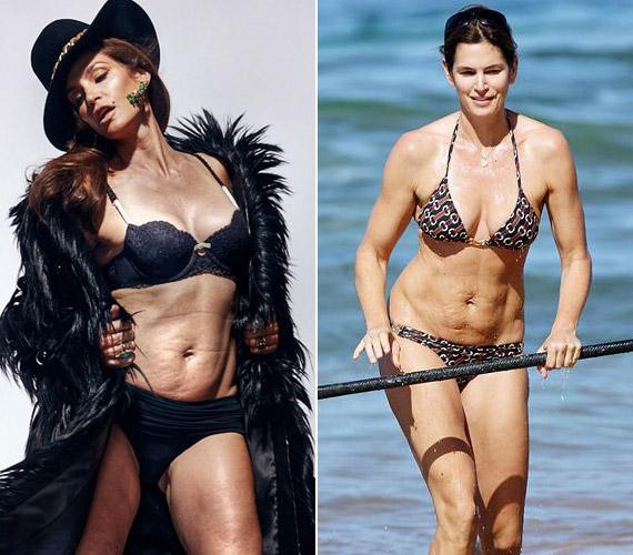Cindy Crawford képeit általában retusálják, ám a strandon már nincs lehetőség a változtatásra. A modell mégis bátran húz fel bikinit, nem szégyelli a ráncos, megereszkedett hasát.