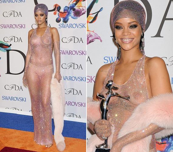 Rihanna 2014-ben a Fashion Icon of the Year díját vette át ebben a 216 ezer csillogó Swarovski kristállyal kirakott ruhában - nem csoda, ha mindenki őt nézte.