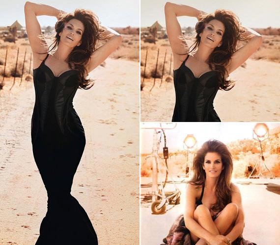 Cindy Crawfordtól csak még jobban felhevült a sivatagi helyszín, ahol a fotók készültek.