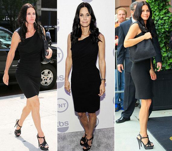 Senki sem gondolná, hogy ebben a féloldalas fekete ruhában és a magas sarkú cipőben egy 47 éves nő tündököl. Természetes sminkje és hullámos, hosszú haja szintén nagyon fiatalos külsőt kölcsönöztek neki.
