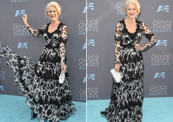 A 70 éves Helen Mirren még a fiatalokat is lepipálta. Virágos Dolce & Gabbana ruhájában egész este pörgött-forgott, mint egy kislány.