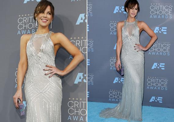 Kate Beckinsale lélegzetelállítóan festett, ő is ragyogott tegnap este, nemcsak pazar Monique Lhullier estélyi ruhája.