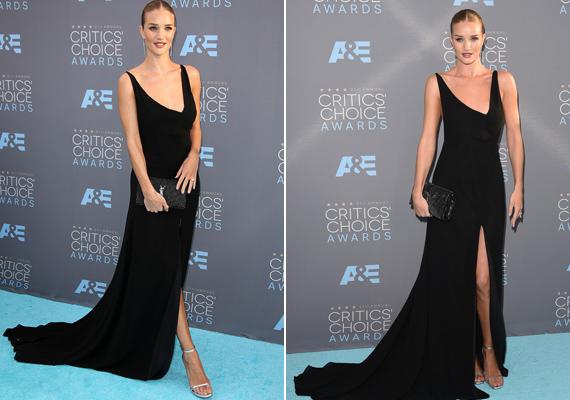 Alul-felül kivágás! A modell Rosie Huntington-Whiteley fantasztikusan festett ebben a fekete Saint Laurent ruhában.