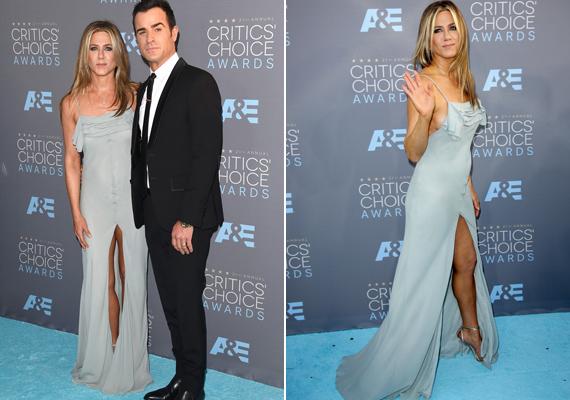 Jennifer Aniston egy merészen felsliccelt Saint Laurent ruhában érkezett a gálára. Csak millimétereken múlt, hogy villantson.