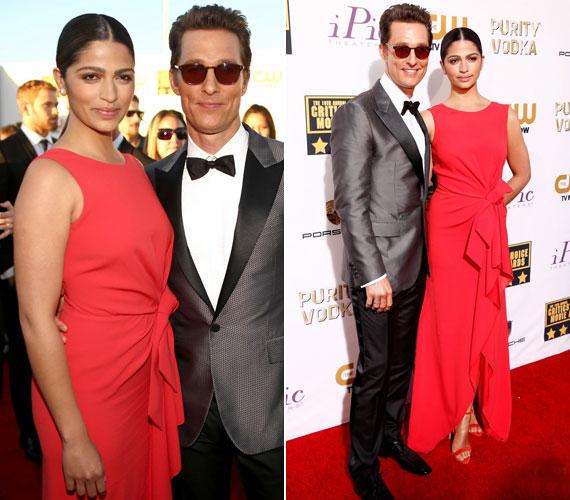 A Mielőtt meghaltam című filmmel díjakat és jelöléseket begyűjtő Matthew McConaughey és modell felesége, Camila Alves, aki egy Paule Ka kreációt viselt.