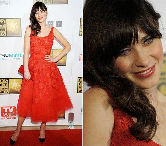 Az új lány bájos színésznője vihette haza a legjobb női szereplőnek járó szobrocskát. Elragadóan nézett ki piros Oscar de la Renta tüllruhájában, amit organzavirágok díszítettek.