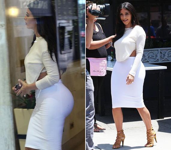 Kim Kardashiant június végén kapták lencsevégre Los Angelesben, a K, mint Kardashian legújabb epizódjának forgatásakor. Bár a fehér szűk ceruzaszoknya szokás szerint kellőképpen kiemelte híres hátsóját, a crop top nem volt jó választás, hiszen a furcsa szabás éppen hogy nem engedte érvényesülni homokóra alakját.