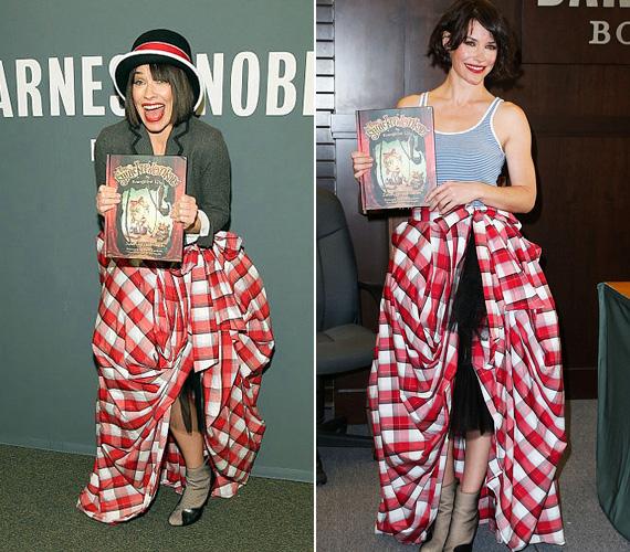 Evangeline Lilly, a Lost egykori sztárja már három alkalommal bújt ebbe a meghatározhatatlan műfajú szoknyába, miközben első mesekönyvét promotálja. Legutóbb szombaton, a Los Angeles-i Barnes and Noble könyvesboltban kapták lencsevégre. Hogy a gyerekeknek tetszik-e a színes szerelése, azt nem tudni, mindenesetre elképzelhető, hogy inkább elvonja a figyelmet a mesekönyvről ez a bohócszerű ruha.
