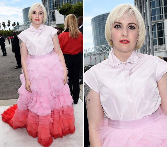 Lena Dunham rózsaszínGiambattista Valli tütüje nem aratott osztatlan sikert.