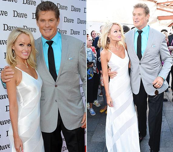 David Hasselhoff és barátnője, Hayley is élvezte a rivaldafényt, szívesen pózoltak a fotósoknak. Az elmúlt években együtt csinálnak mindent, a színész szeret együtt dolgozni barátnőjével.