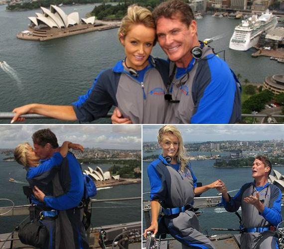 A 33 éves szőkeségnek ezeken a fotókon Ausztráliában egy magas építményen, alpinista szerelésben tette fel a nagy kérdést - háttérben a Sydney-i Operaházzal.