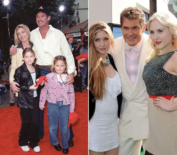 A bal oldalon egy ritka családi fotón látható David Hasselhoff akkori feleségével - most egy 29 évvel fiatalabb nővel jár - és lányaival a kilencvenes években, egy vörös szőnyeges eseményen. A jobb oldali fotó pedig 2011-ben egy filmpremieren készült.