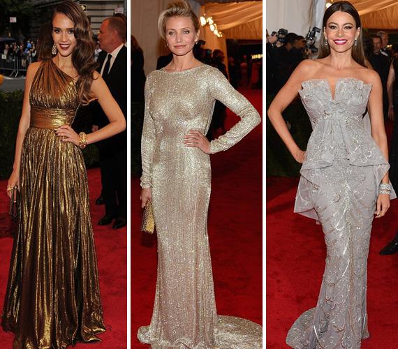 Jessica Alba Michael Kors ruhája, Cameron Diaz Stella McCartney-ja és Sofia Vergara Marchesa tüneménye gyönyörű átmenetet képeztek az aranyból az ezüstbe.
