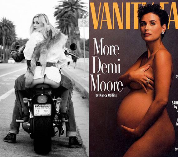 Scout új hajszínnel, szőkén. Hetvenes évekbeli szőrmemellényt, fehér inget, bőrövet és rojtozott hasított bőr nadrágot visel, ami azonban fenekét fedetlenül hagyja. Anyja épp középső lányával állapotosan a Vanity Fair címlapján anyaszült meztelenül pózolt.