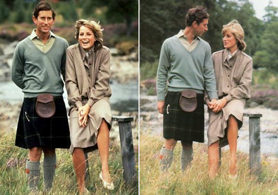 Skóciában bohóckodnak az újdonsült házasok. Diana őszinte, boldog mosolyát ha akarták volna, sem tudták volna levakarni.