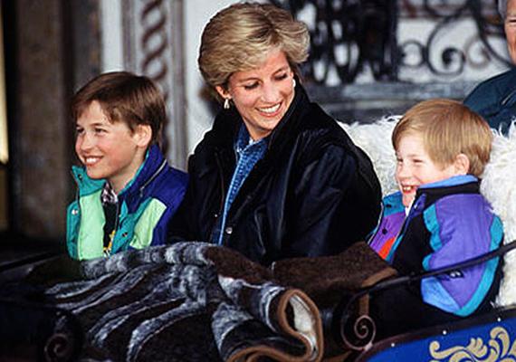 1993, Ausztria - a fiúk édesanyjukkal és dadusukkal, Olga láthatóak egy szánon. Láthatóan nagyon élvezik a téli kiruccanást a hegyekbe.