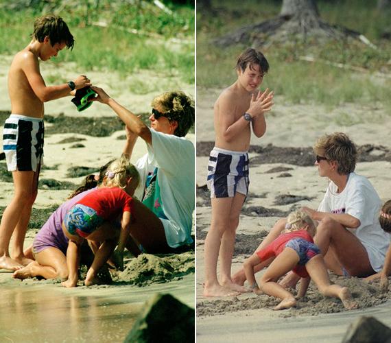 Ezek a fotók Vilmos herceg 11 éves korában készültek a Karib-tengeren. Diana hercegnő az összes gyereket levitte a tengerpartra, hogy játszhassanak.
