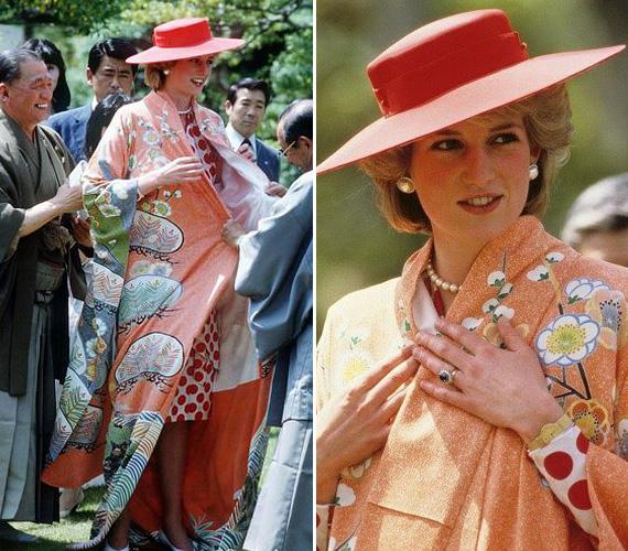 Diana hercegnő és Károly herceg 1986 májusában jártak Japánban, a hercegnő bűbájosan nézett ki a ráadott kimonóban.