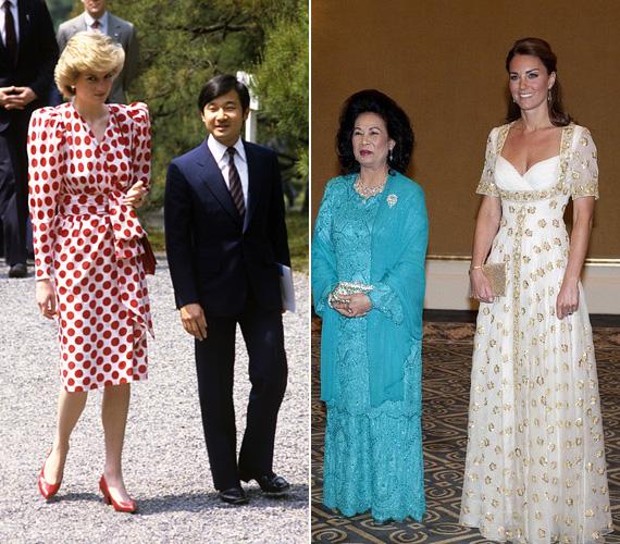 Diana feltűnő szépség volt fehér alapon piros pöttyös ruhájában. Csakúgy, mint Katalin hercegnő 2012-ben, gyönyörű Alexander McQueen ruhájában, amikor Malajzia királyánál és annak feleségénél járt.