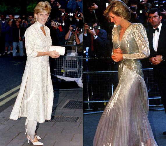 1996-ban egy adománygyűjtő esten egy indiai népviseletre emlékeztető ruhában jelent meg. Kedvelte a széles válltöméseket is, ebben az ezüstBruce Oldfield ruhában is jócskán akadt.
