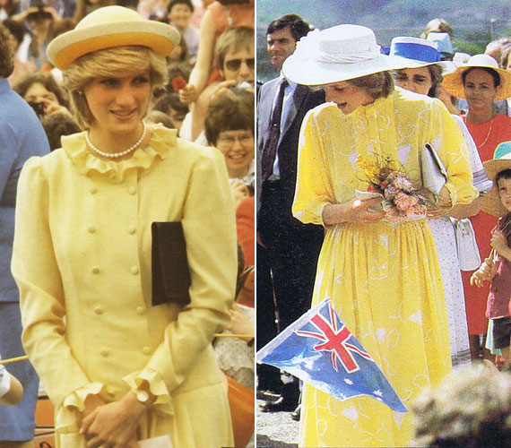 1983 tavaszán Ausztráliában voltak körúton férjével, ott tartózkodása alatt is többször volt rajta sárga ruha, melyet nőies kalappal egészített ki. Ez volt az első tengerentúli útja Károly herceg feleségeként.