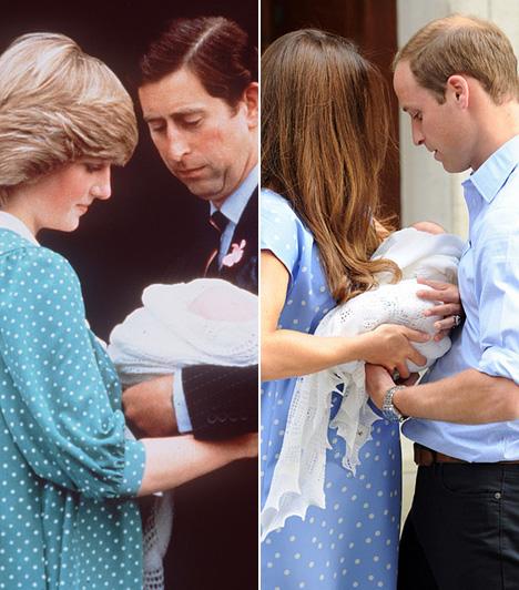 KismamaruhaMár a terhesség alatt is sok, Dianáéhoz hasonló ruhát viselt Katalin hercegnő. Amikor pedig megszületett a kis György herceg 2013 nyarán, akkor ugyanolyan ruhában mutatta meg a nagyvilágnak, mint annak idején Diana hercegnő tette a kis Vilmossal, 1982-ben.