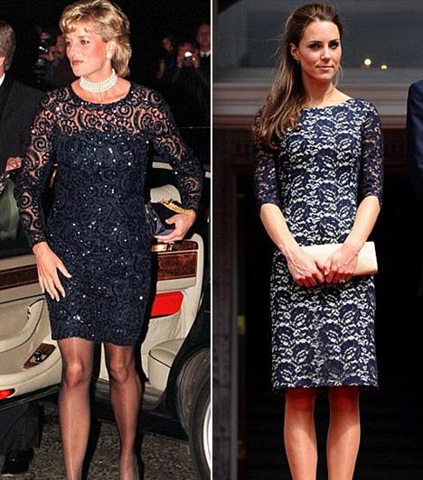 CsipkeruhaDiana hercegnő 1995-ben viselte ezt a gyönyörű, mélykék csipkeruhát Beaufortban, míg Katalin hercegnő 2011 júliusában, kanadai látogatásán viselt egy hasonló Erdem dresszt.