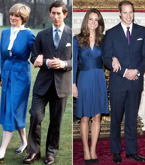 Kék ruha az eljegyzés utánKároly és Diana 1981 februárjában jelentették be az eljegyzésüket, Katalin és Vilmos pedig 2010 novemberében. Ezt követően mindkét nemes hölgy hasonló kék ruhában fotózkodott, melynek színe passzolt az eljegyzési gyűrű kövének színéhez.