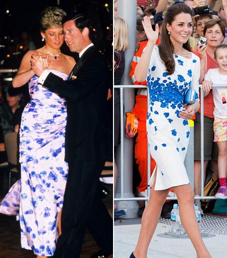 Fehér alapon virágokDiana hercegnőn 1988-ban volt a fehér alapon kék virágos Catherine Walker ruha, ebben ment el egy ausztrál gálavacsorára. Katalin hercegnő is Ausztráliában viselte ezt a hasonló stílusú L.K. Bennet virágos ruhát, csak ő 2014 áprilisában.
