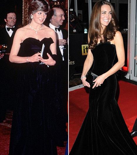 Fekete estélyi  Diana első hivatalos megjelenésén nyűgözte le az alattvalókat ebben a fekete, pánt nélküli estélyiben 1981-ben - ekkor volt 20 éves. Katalin hercegnő 2011-ben választott hasonlót, amikor a Sun Military Awards gálára volt hivatalos.