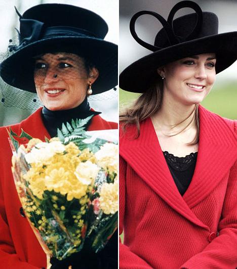 KalapMindkét hercegnő előszeretettel hord kalapot: Dianán 1993 karácsonyán volt ez a fekete fejfedő, Katalin pedig 2006-ban vett fel egy hasonló fekete kalapot a Bershire-i Sovereign's Parade alkalmával 2006-ban.